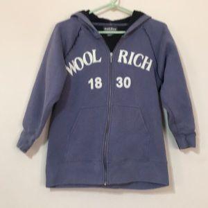 Wool rich hooded sweatshirt jacket